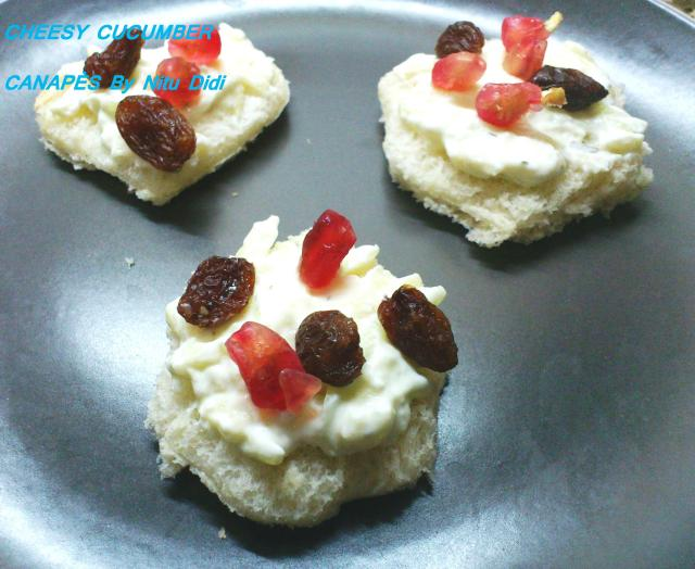 Cheesy cucumber canapes nitu didi for Canape online india