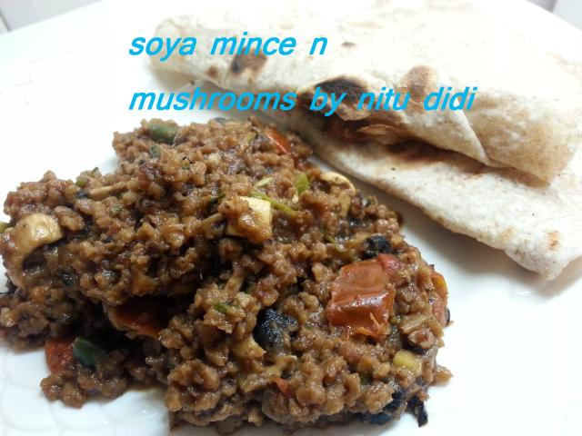 SOYA MINCE WITH MUSHROOMS DESI STYLE